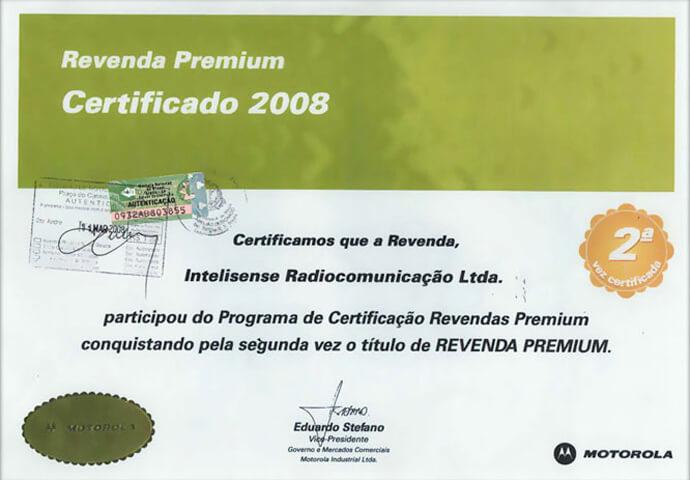 Certificado Revenda Premium Ouro 2008