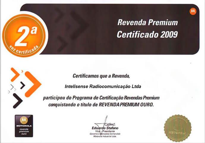 Certificado Revenda Premium Ouro 2009