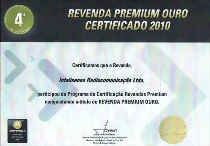 Certificado Revenda Premium Ouro 2010