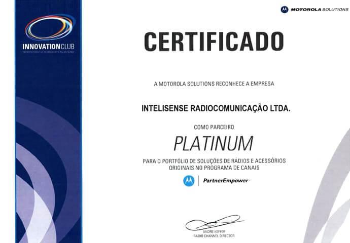 Certificado Revenda Platinum 2014