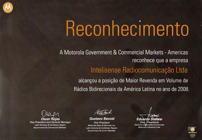 Reconhecimento de Maior Revenda da América Latina 2008