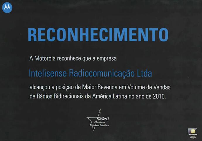 Reconhecimento de Maior Revenda da América Latina 2010