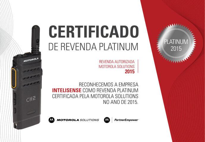 Certificado Revenda Platinum 2015